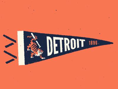 Detroit Tigers Pennant retro vintage flag pennant mlb baseball tigers tiger detroit