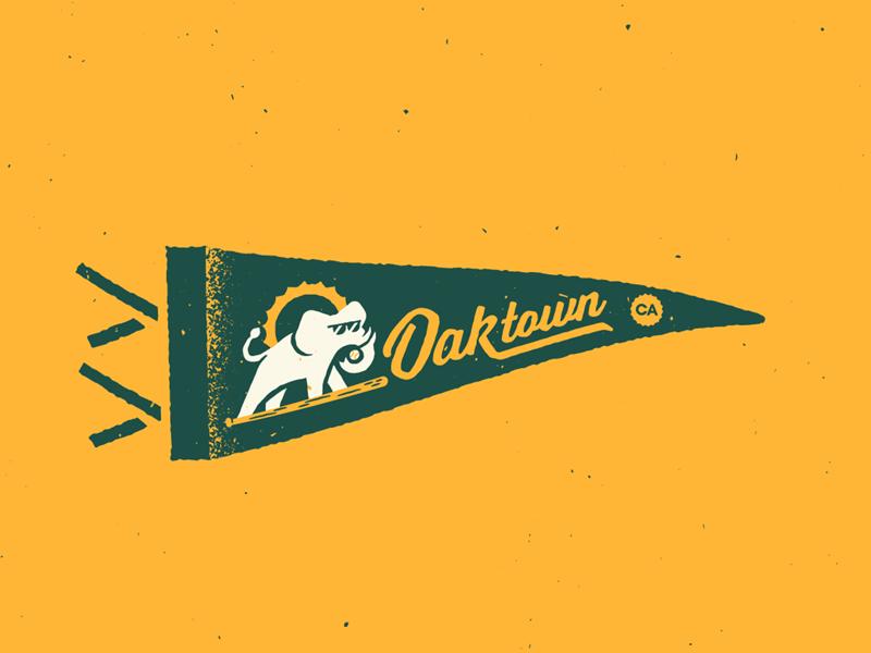 Oakland A's Pennant pennant banner flag retro vintage baseball mlb elephant athletics california oakland