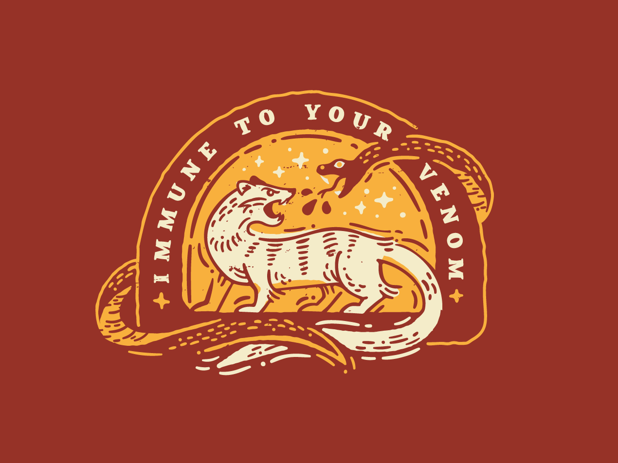 Mongoose Power quotes venom texture woodcut vector badge snake mongoose