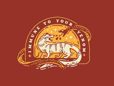 Mongoose Power quotes venom texture woodcut vector badge snake mongoose
