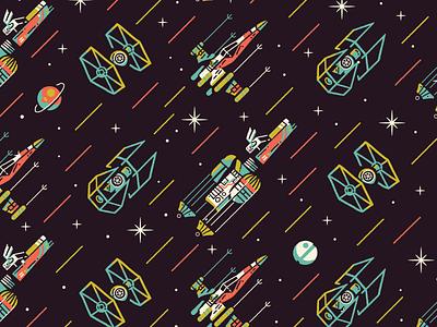 Funky Wars pattern disney lasers spaceship ship battle space star wars