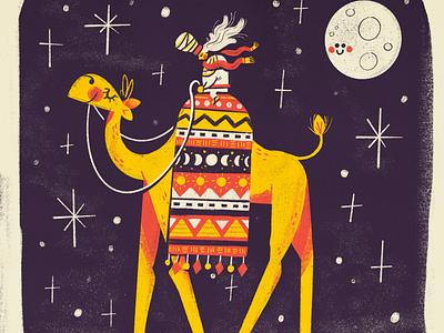 Long Journey Home pyramids egypt moon kids illustration old man desert night camel