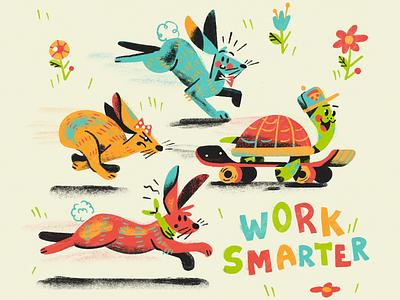 Skateboarding Tortoise bright kids midcentury quote smarter bunny hare rabbit turtle tortoise