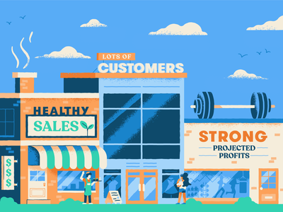 Strong Business Signs illustration icon pop up shop moving online retrosupply small business blurbs shop store storefront sales texture vector business