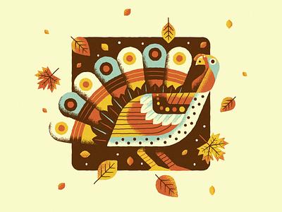 Gobbler vector texture retro pattern leaves fall autumn thanksgiving turkey