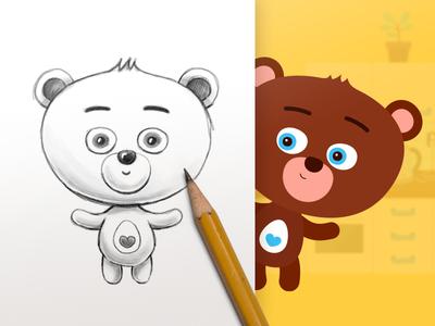 Character design of little bear - tablet children game vector doodle sketch illustration children cute bear design character game