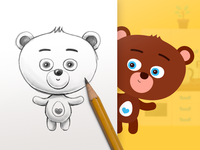 Character design of little bear - tablet children game