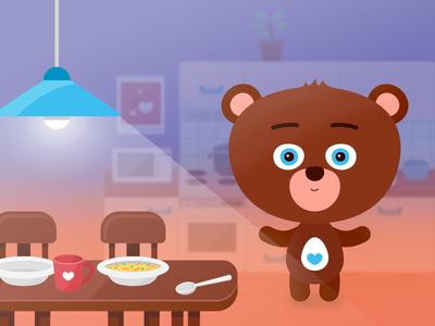 Children tablet app – kitchen scenery app bear vector illustration scenery design character cute kids children game