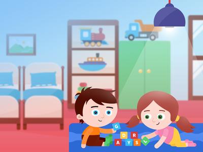 Children tablet app – preschool scenery illustrations illustration preschool play graphic design vector game children kids tablet app