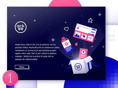 5 years of Ackee glitch design app pink vector art webdesign visual gradient 80s pixel illustration