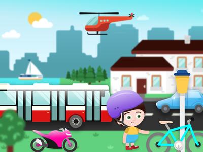 Tablet game app for children gradient vector city transport kids children app game illustrations illustration