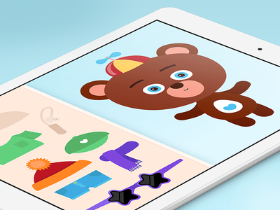 Interaction mode ui app bear vector illustration design character kids children game