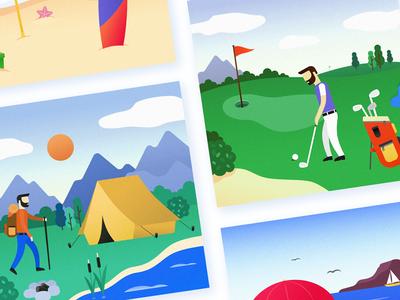 Vacation illustrations illustration graphic design ui mountains vector ocean sea hike golf vacation illustrations