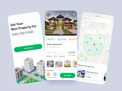 Real Estate Mobile App vector ux ui typography illustration icon graphic design design art app