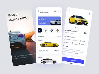 Car Rental mobile app clean vector ux ui typography icon graphic design design app