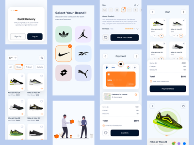 Shoe Store Mobile App minimal fashion addidas nike interfaces ios color illustration clean icon ux ui vector typography graphic design design app