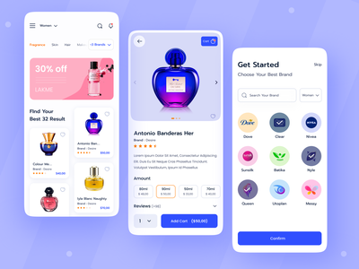 Beauty Product Shop App product page homme page mobile app e commerce interface image mobile ios ux ui minemal fashion illustration clean art vector typography graphic design design app