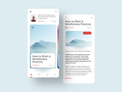 Meditation Blog product modern minimal typography concept interface design product design mobile uiux ui blog calm meditation
