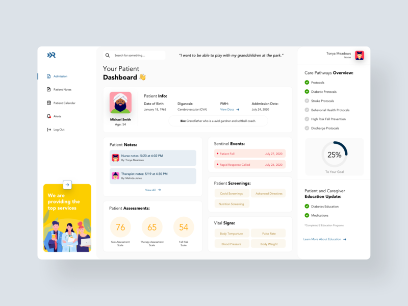 Care Pathway Dashboard patient nurse healthcare ux interface minimal concept design ui product design product dashboard