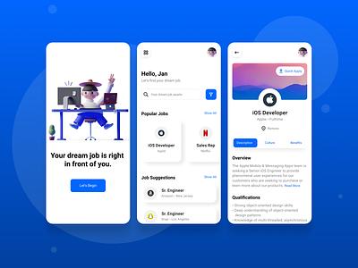 Dream Job job search color native mobile product minimal concept interface design ux ui dream search job board