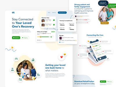 RehabTracker Landing Page product design web design product minimal interface web design ux ui landing page ui landing page app store app
