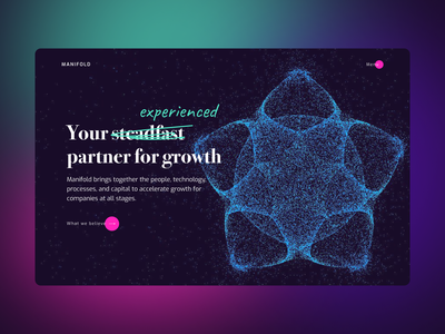 Partner for Growth branding typography product concept web design interface particles consultancy uiux ui web design