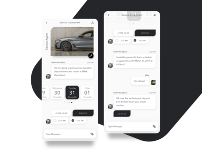 BMW Service Department Bot scheduler branding product minimal typography interface concept design web ux ui sketch chatbot chat services schedule