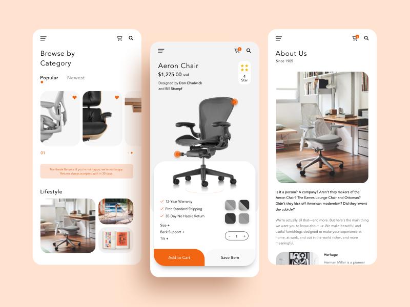 Mobile App E-commerce ux minimal typography interface concept ui shopping app e-commerce app ecommerce design mobile app design furniture product app design app mobile app