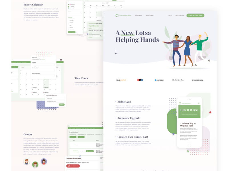 Lotsa Helping Hands Product Landing Page product web illustration website ux ui landing pages product design webdesign technology start up sketch homepage landing page