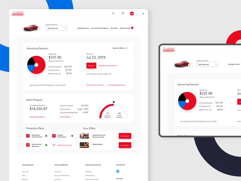 Vehicle Dashboard statements billing product page transaction history transactions color product interface design web ux ui profile vehicle concept web app dashboard product design