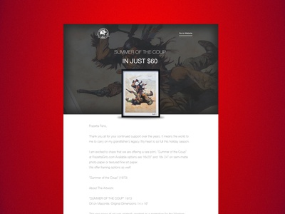 Email design for Frank Frazetta e-commerce web