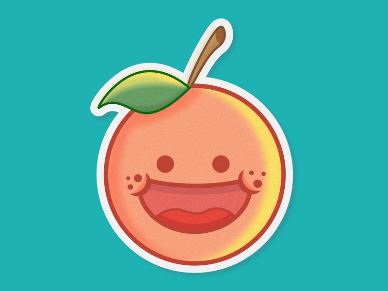 Happy Orange Sticker vector web minimal icon illustration