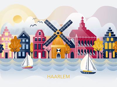 Haarlem dutch windmill city vector art illustration netherlands haarlem