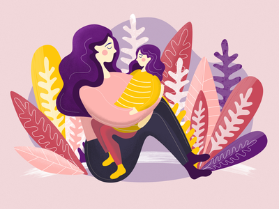 Mother & Daughter child daughter mother affinity designer vector digital art illustration