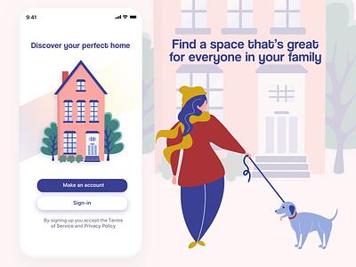 Daily UI Challenge 01: Sign Up - Home Finding App ios dog house home vector sketch affinity designer illustration digital illustration ui dailyuichallenge dailyui