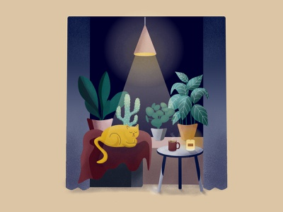Cozy Place art plants affinity designer home cats cozy design vector illustration digital illustration