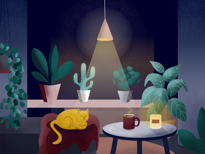 Cozy Place II plants cozy art home digital illustration design cats autumn vector affinity designer illustration