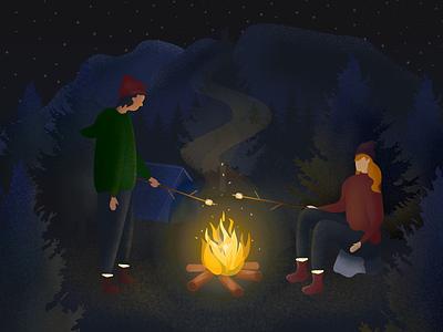 S'mores forest vector art nature camping illustration digital illustration affinity designer