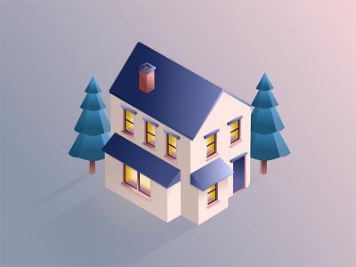 Isometric House home building house isometric design digital illustration affinity designer vector illustration 3d art