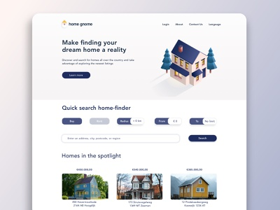 Daily UI Challenge 03: Landing Page - Home Finding Website website 3d art dailyuichallenge dailyui design ux affinity designer vector ui home