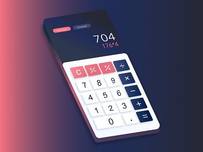 Daily UI Challenge 03: Calculator illustration digital art mood isometric design isometric 3d dailyui mobile calculator design ux ui affinity designer vector