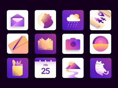 App Icons cat branding icons mobile ios art design ui illustration digital illustration affinity designer vector
