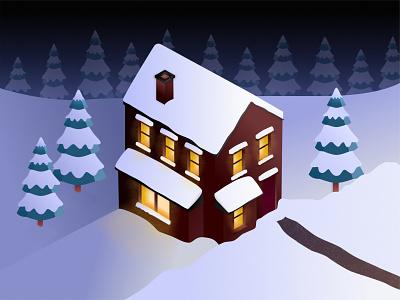 Isometric House - Winter illustration snow winter 3d art isometric home art design affinity designer vector