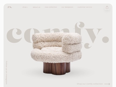 Furniture website page concept store webshop futuristic beige branding webdesign website ux ui shadow modern chair luxury design luxury brand luxury furniture website furniture design furniture app furniture