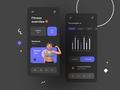 fitness app dark mode sports health fitness mobile app modern ui ux