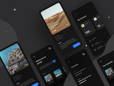 Travelly - virtual travel guide ux mobile app travel dark mode ui
