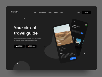 Travelly - virtual travel app travel website webdesign animation ui ux