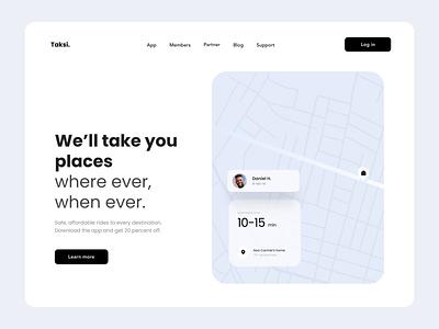 Taksi - simple UI car driving service cab taxi webdesign ui ux