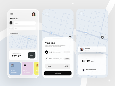 Cab booking app - UI app map rides driving cars uber taxi colourfull mobile cab ui ux
