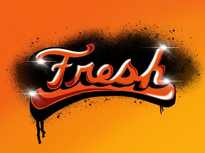 Fresh vector logo illustration lettering freehand digital illustration digital art
